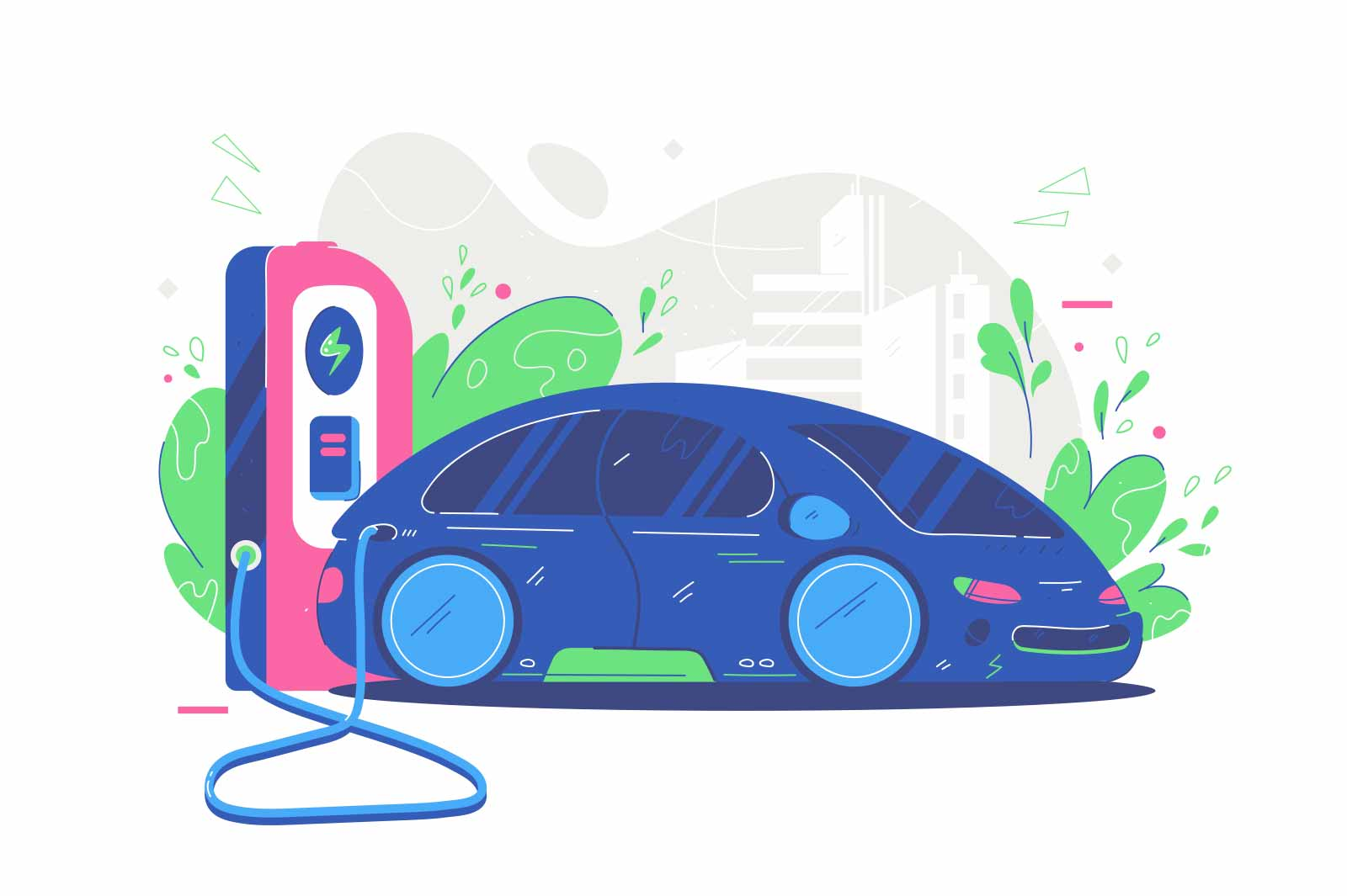 Modern electric sport car vector illustration. Automobile charging on parking station flat style. Electrified future transportation e-motion concept. Isolated on white background