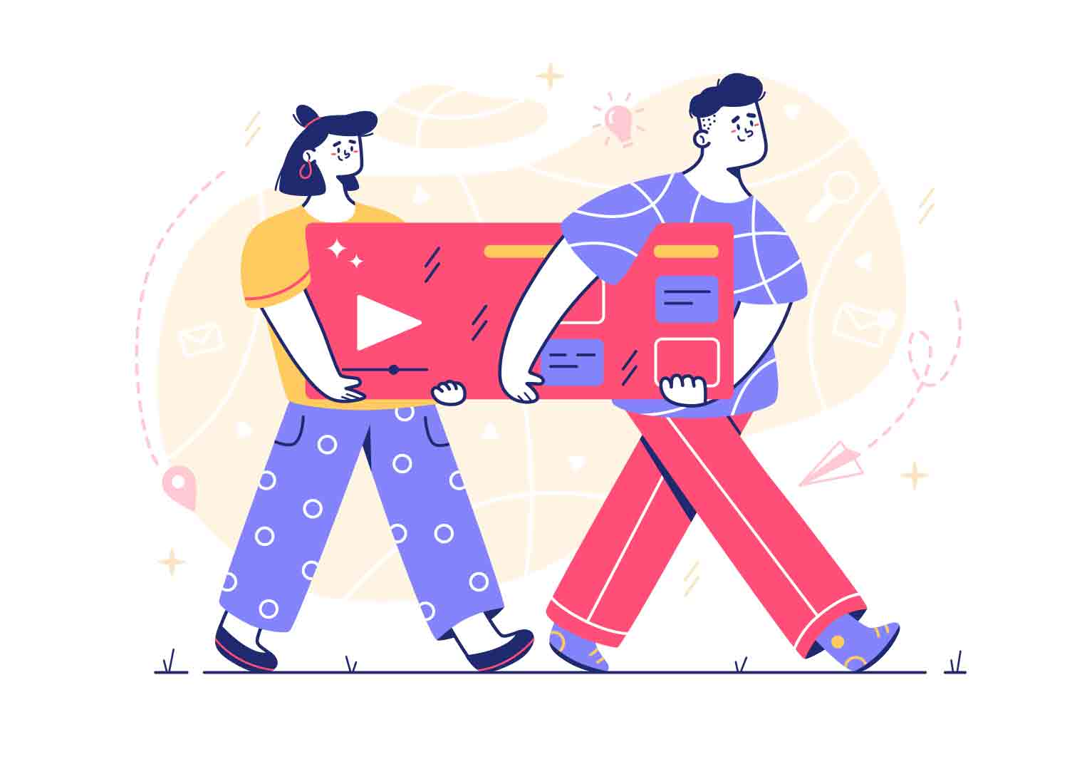 Fun character Illustrations in line style made in limited color pallet. Vector source files.