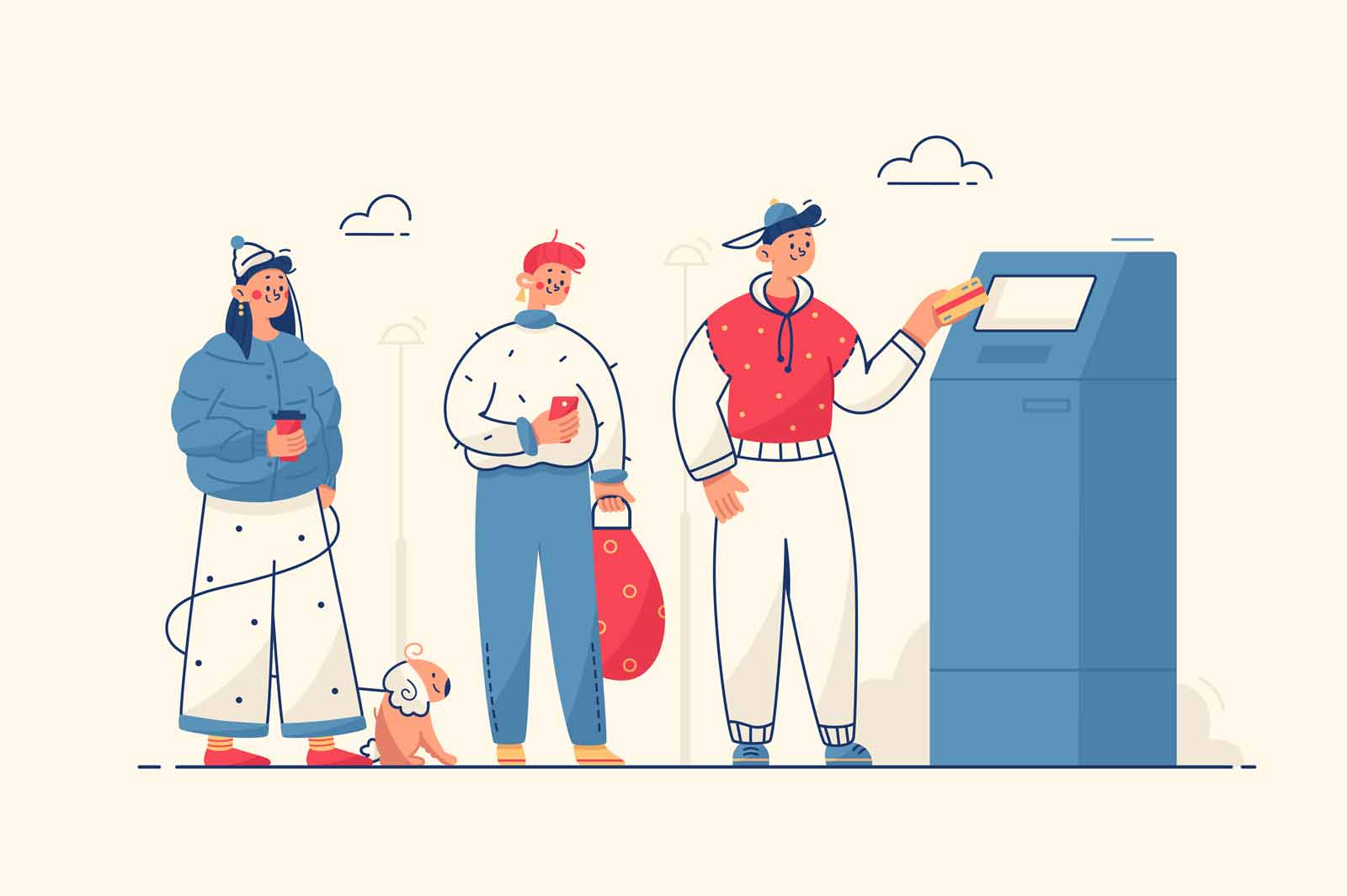 People at cash machine vector illustration. Line on street to withdraw cash from credit card on atm machine flat style. Money and technology concept. Isolated on yellow background