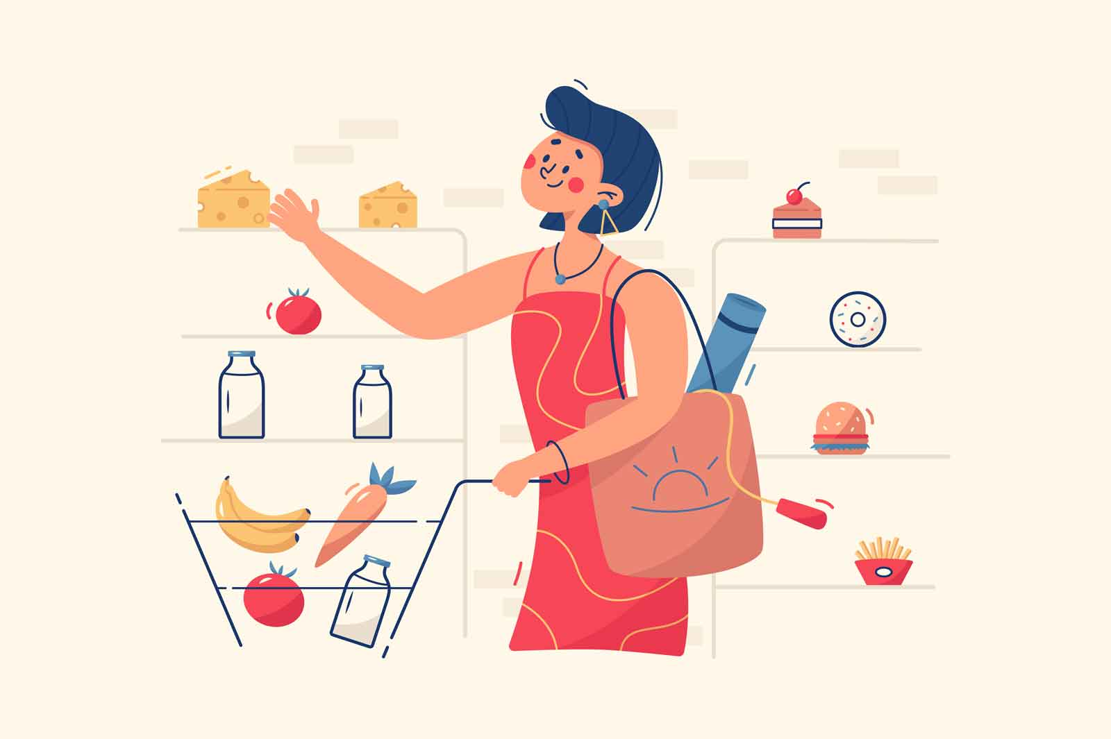 Woman buying food in store vector illustration. Shelves with healthy and organic products flat style. Grocery purchase and department store goods concept. Isolated on beige background