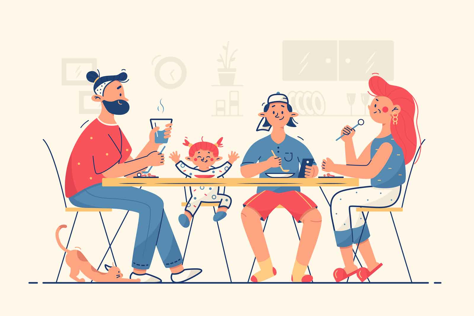 Family having dinner together vector illustration. Mom, dad, teen son and daughter eating meal flat style. Cat pet on floor. Family time and weekend concept. Isolated on beige background