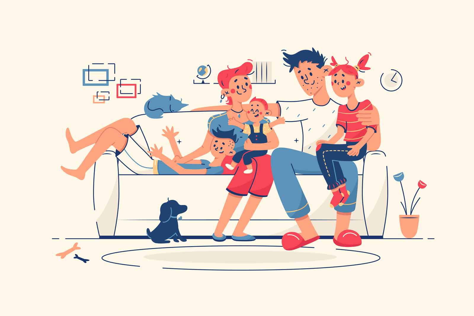 Family together at home on sofa vector illustration. Mum, dad, kids and domestic pet dog chill in living room flat style. Leisure, family time, weekend indoors concept. Isolated on beige background