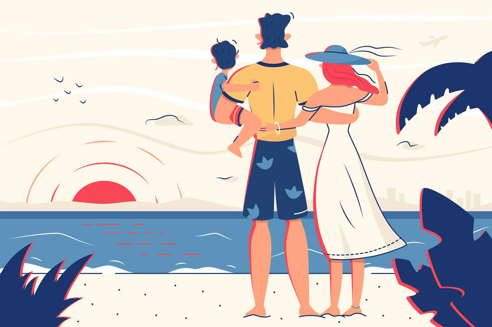 Family enjoy ocean view on beach vector illustration. Happy family with kid on vacation look on sunset flat style. Summer, travel and leisure on sea beach concept. Isolated on beige background