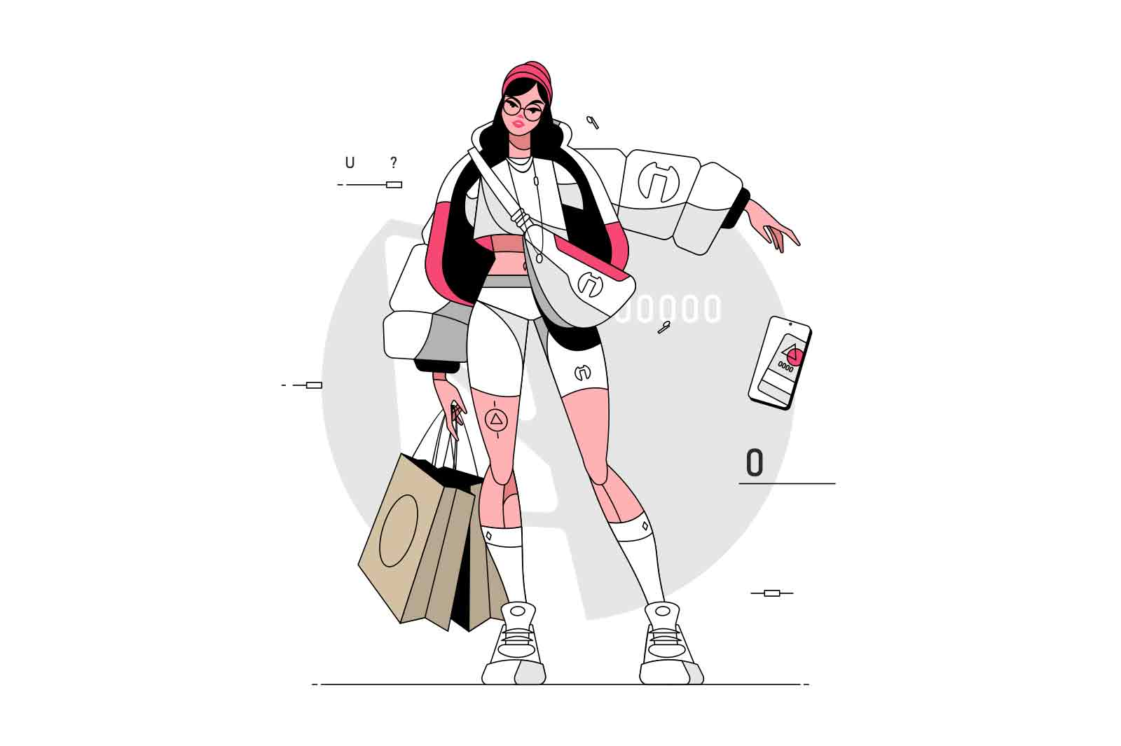 Cool well dressed girl in jacket vector illustration. Stylish young woman in white outfit with shopping bags flat style. Trend, fashion, good taste in clothes concept. Isolated on white background
