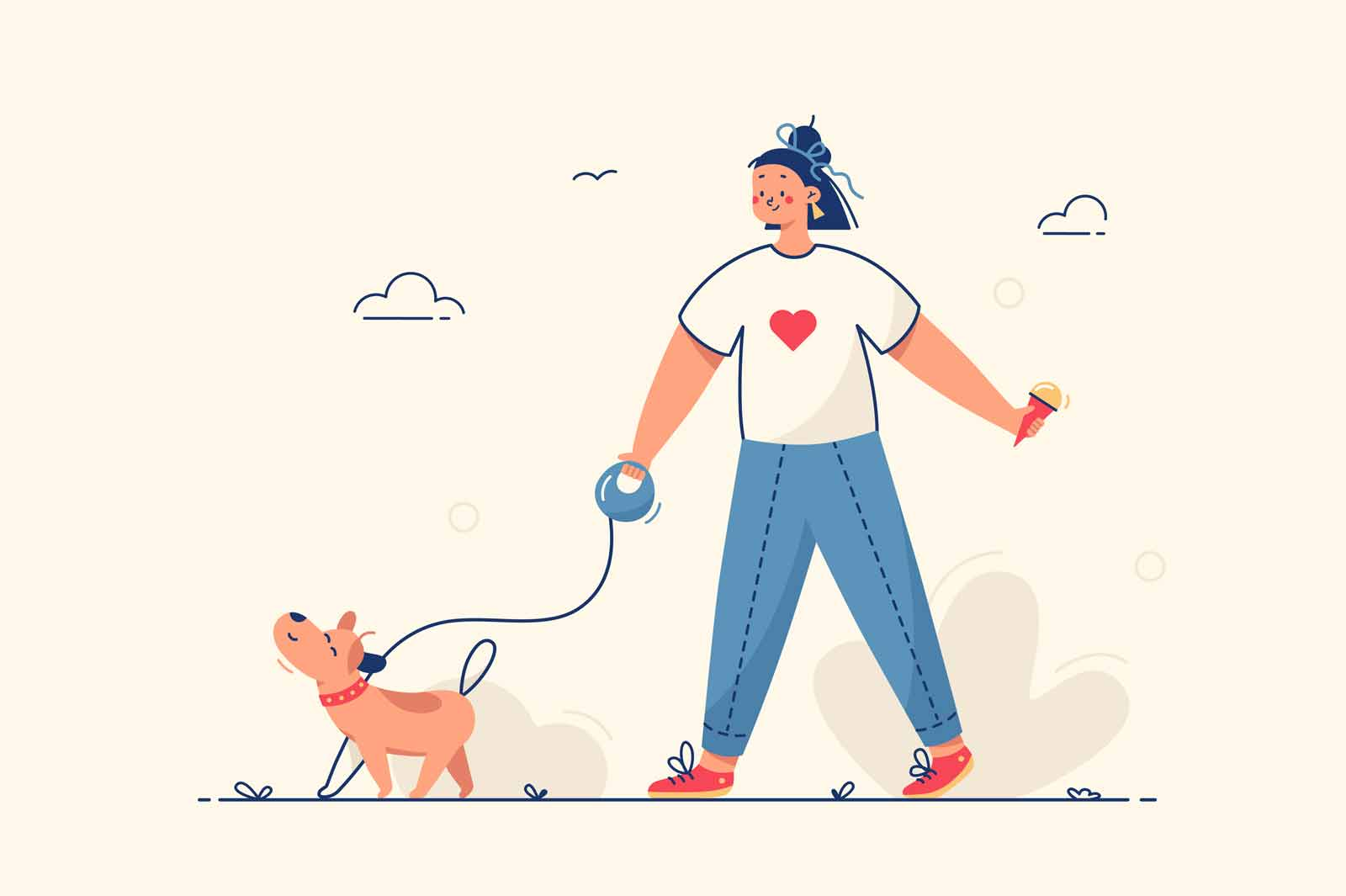Girl walking with dog vector illustration. Young woman outside on street with domestic pet flat style. Weekend and outdoors activity concept. Isolated on yellow background