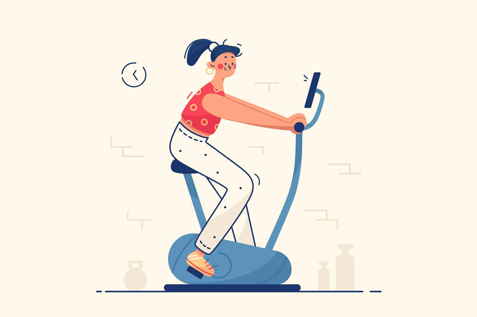 Young woman in gym vector illustration. Female training on velosimulator flat style. Fit body and slim figure. Sport and active lifestyle concept. Isolated on yellow background