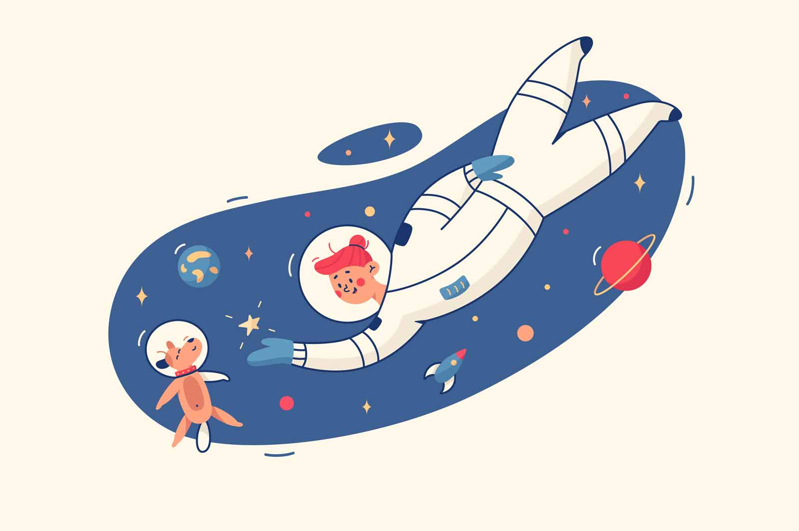 Woman and dog in space vector illustration. Pet and owner astronaut with rocket flat style. Cute puppy in spacesuit. Galaxy, outer space and science concept. Isolated on yellow background