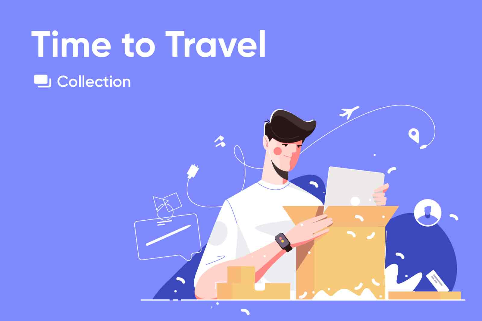 Travel and e-commecrce theme related illustrations. Airport, flights, safari and famous destinations. Delivery, online shopping.