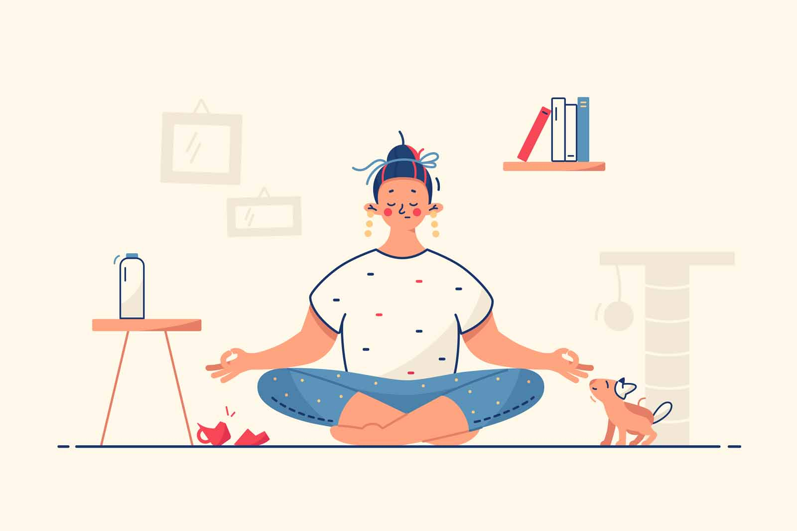 Woman meditate at home vector illustration. Calm atmosphere and relaxation in room flat style. Peace and meditation. Self development and time alone concept. Isolated on yellow background