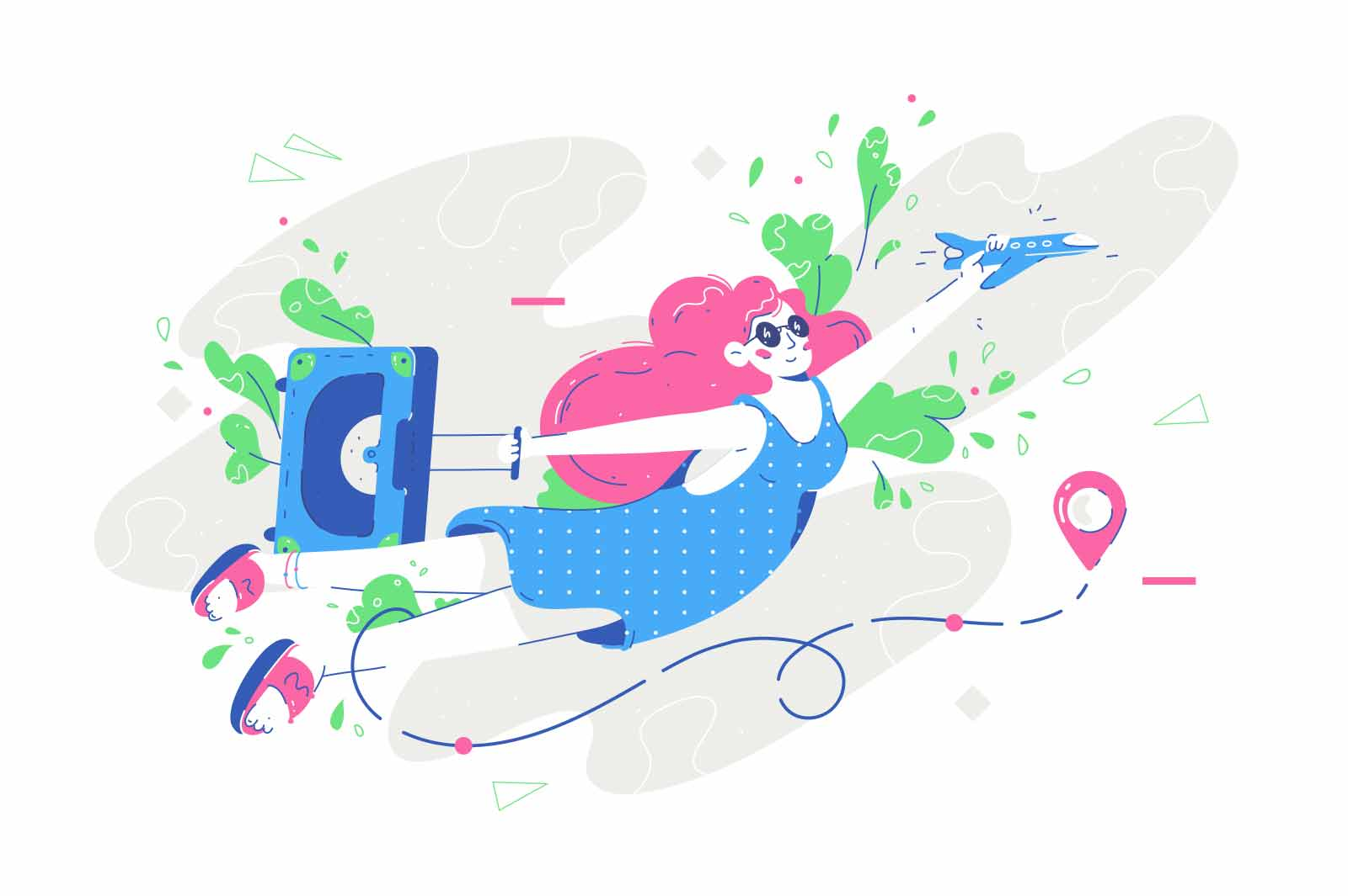 woman; flying; vacation; vector; illustration; female; bright; outfit; suitcase; holiday; flat; style; summer; time; travel; concept; departure; arrive; location; airplane; case; person; colourful; abstract; decor; decoration; relaxation; freedom; colour; art; creative; design; graphic; joy; happiness; adult; leaf; warmth; rest; leisure; plane; sky; air; composition; character; cute; minimal; isolated; white; background