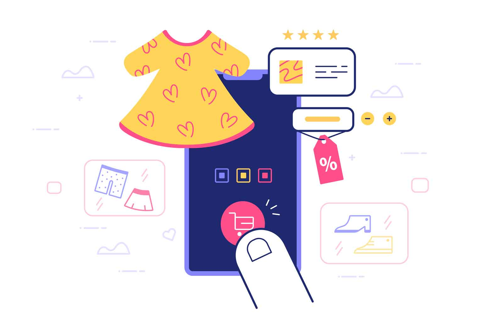 Online shopping via phone vector illustration. Tap on screen to choose clothes flat style. Shop from home using smartphone. Fashion concept. Isolated on white background