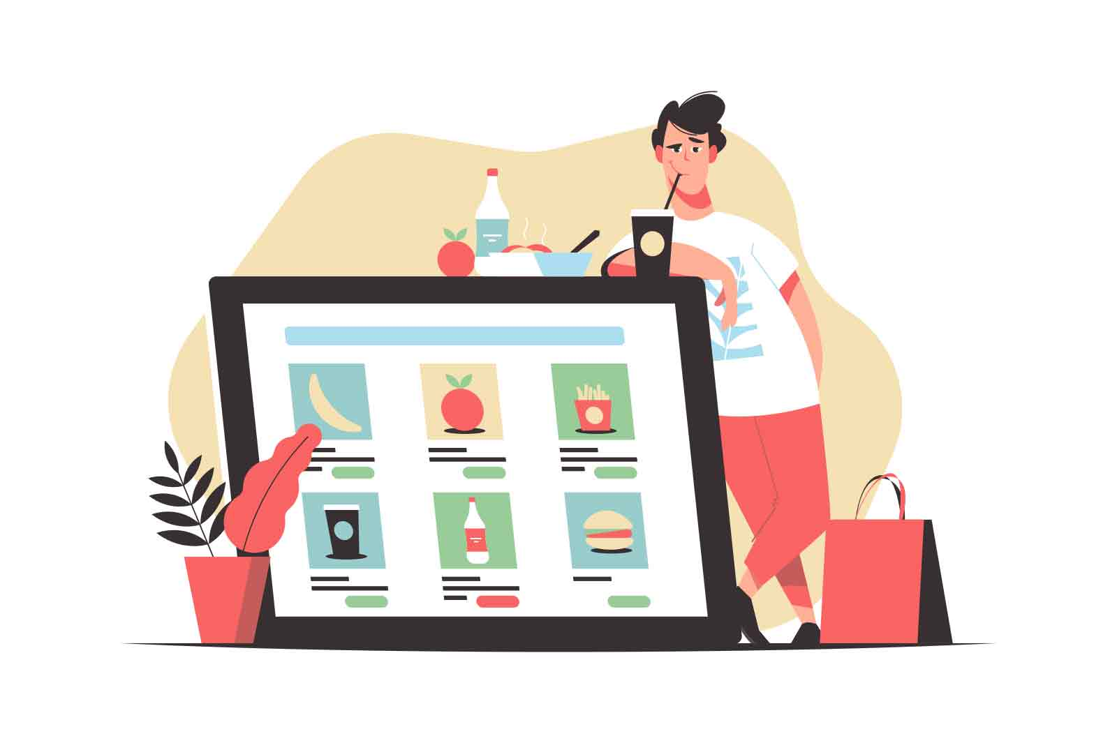 Order food online concept vector illustration. Man stands nearby giant tablet screen with food ordering app. Isolated on white background.