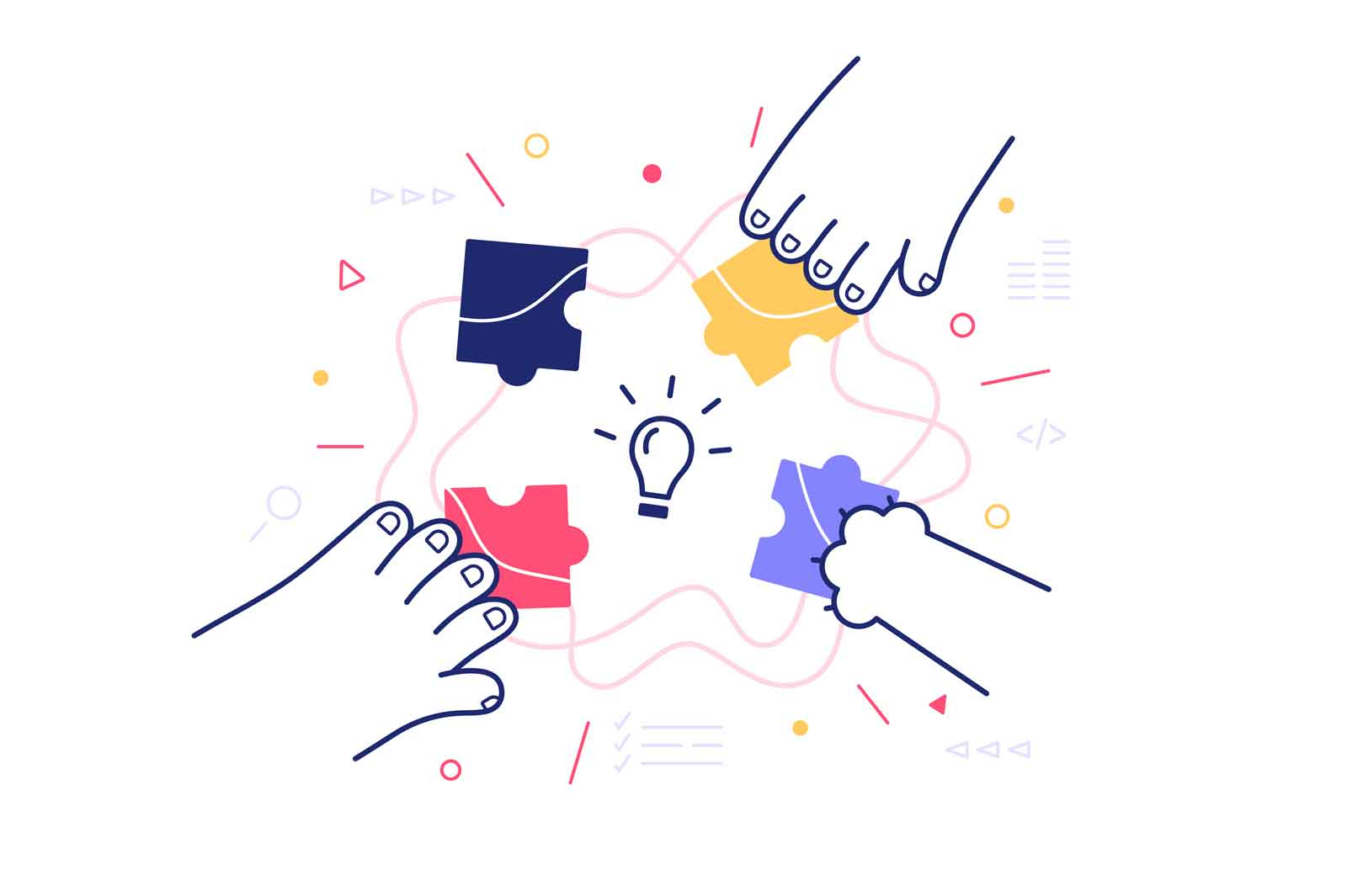 Group work on project vector illustration. Hands putting colourful puzzles together flat style. Teamwork and smart idea concept. Isolated on white background