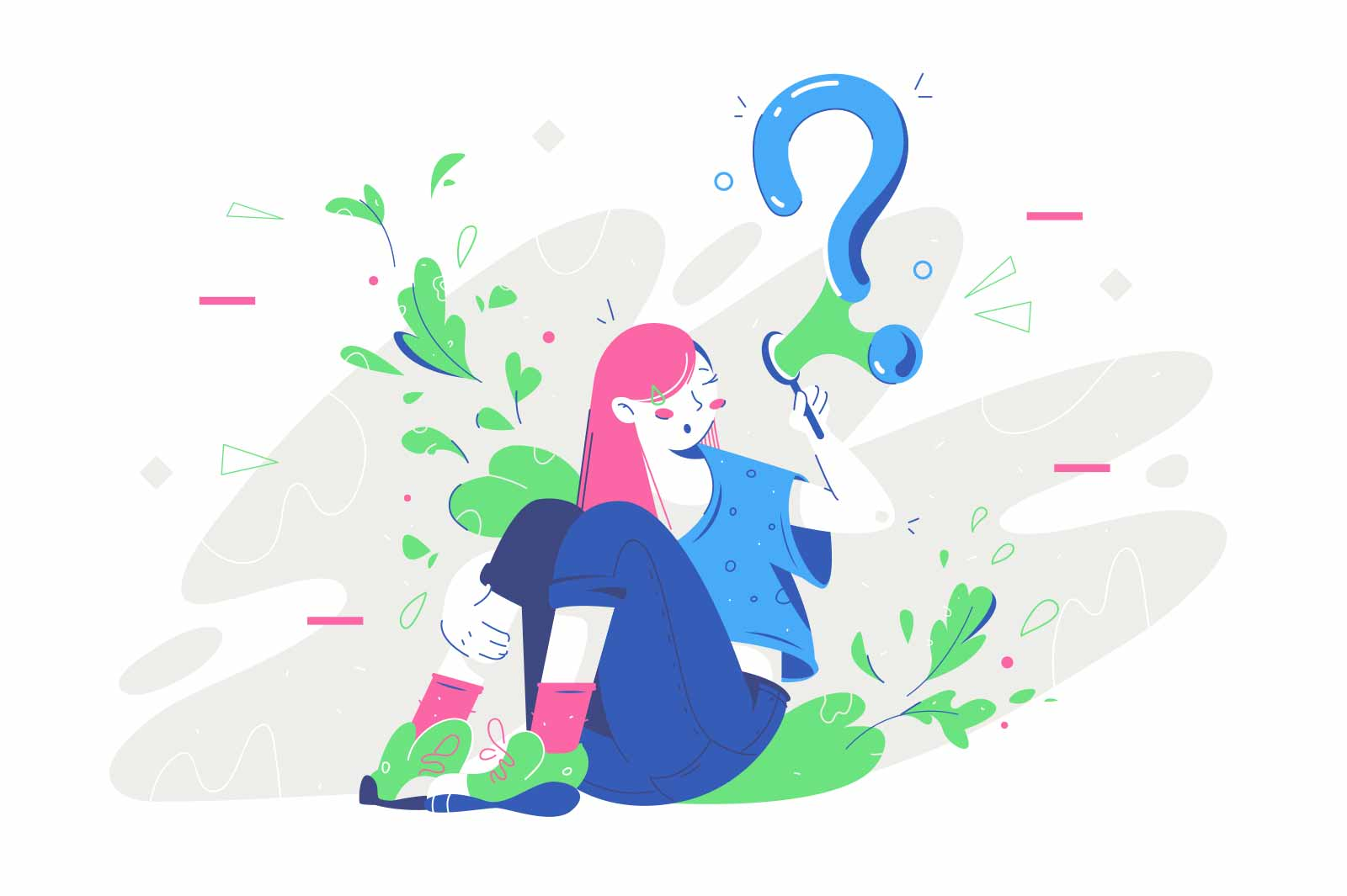 Thoughtful young woman thinking about business near question bubble. Concept smiling female character sitting reflects on future on nature background. Vector illustration.