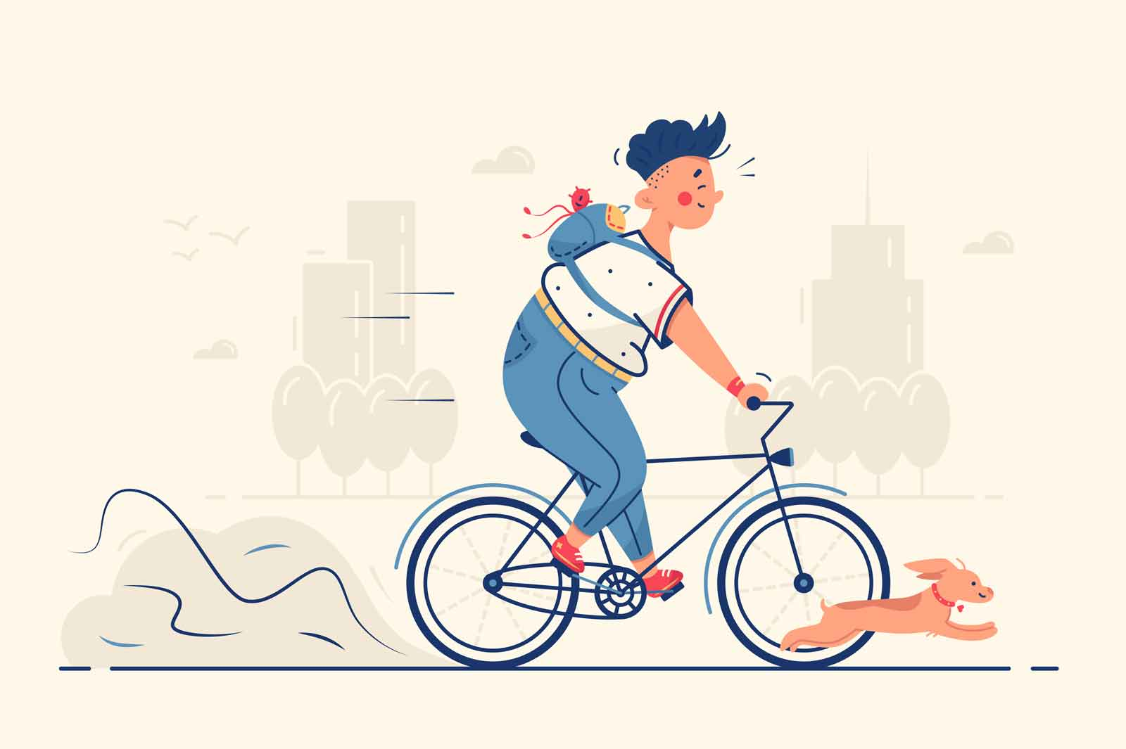 Guy riding bike with dog vector illustration. Man on weekend have fun with pet flat style. Hobby, leisure and outdoors activity concept. Isolated on beige background