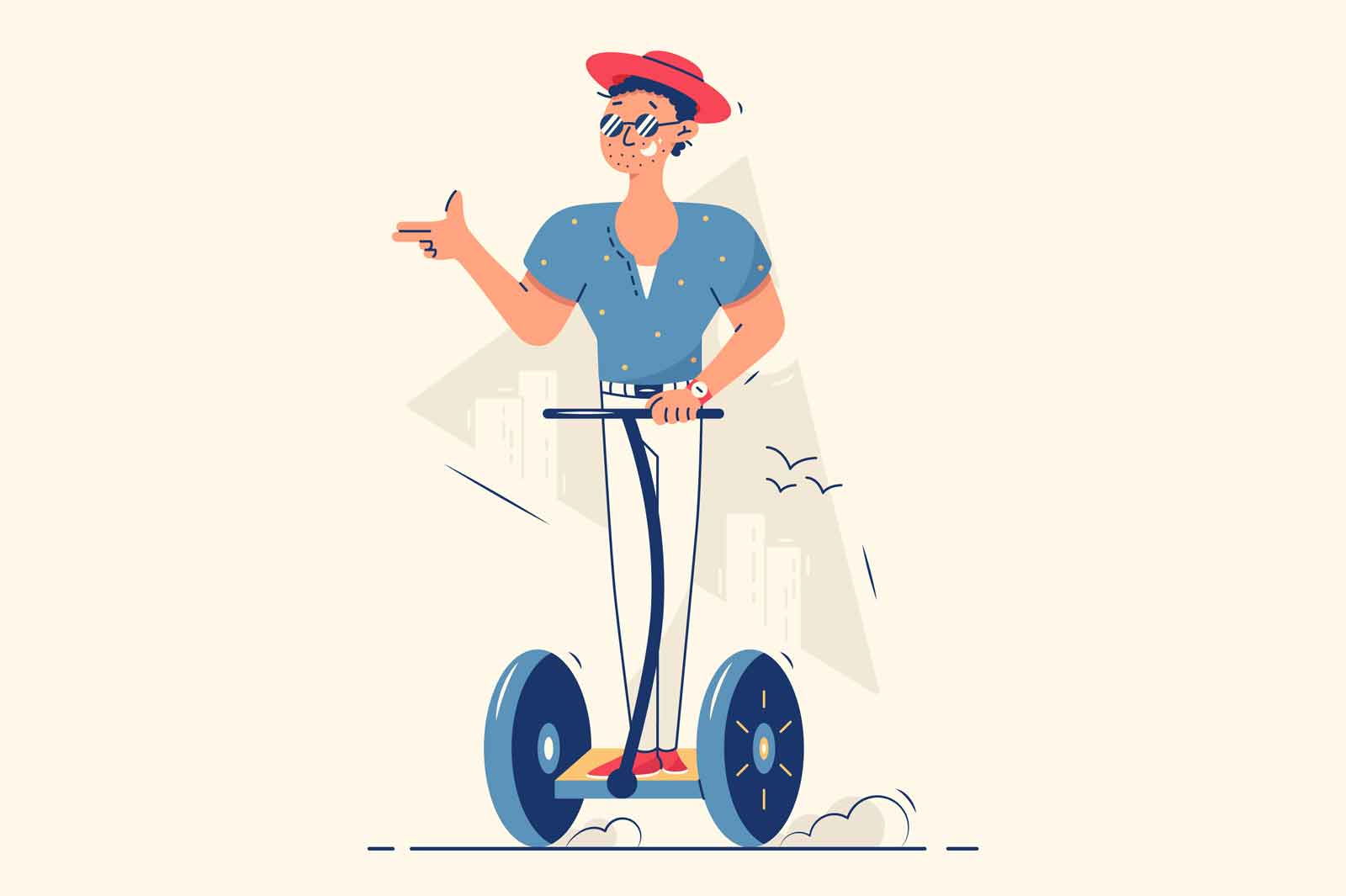 Happy guy riding electric scooter on street vector illustration. Fun spare time flat style. Summer active sports using electronic vehicles and touristic entertainment concept. Isolated on beige background