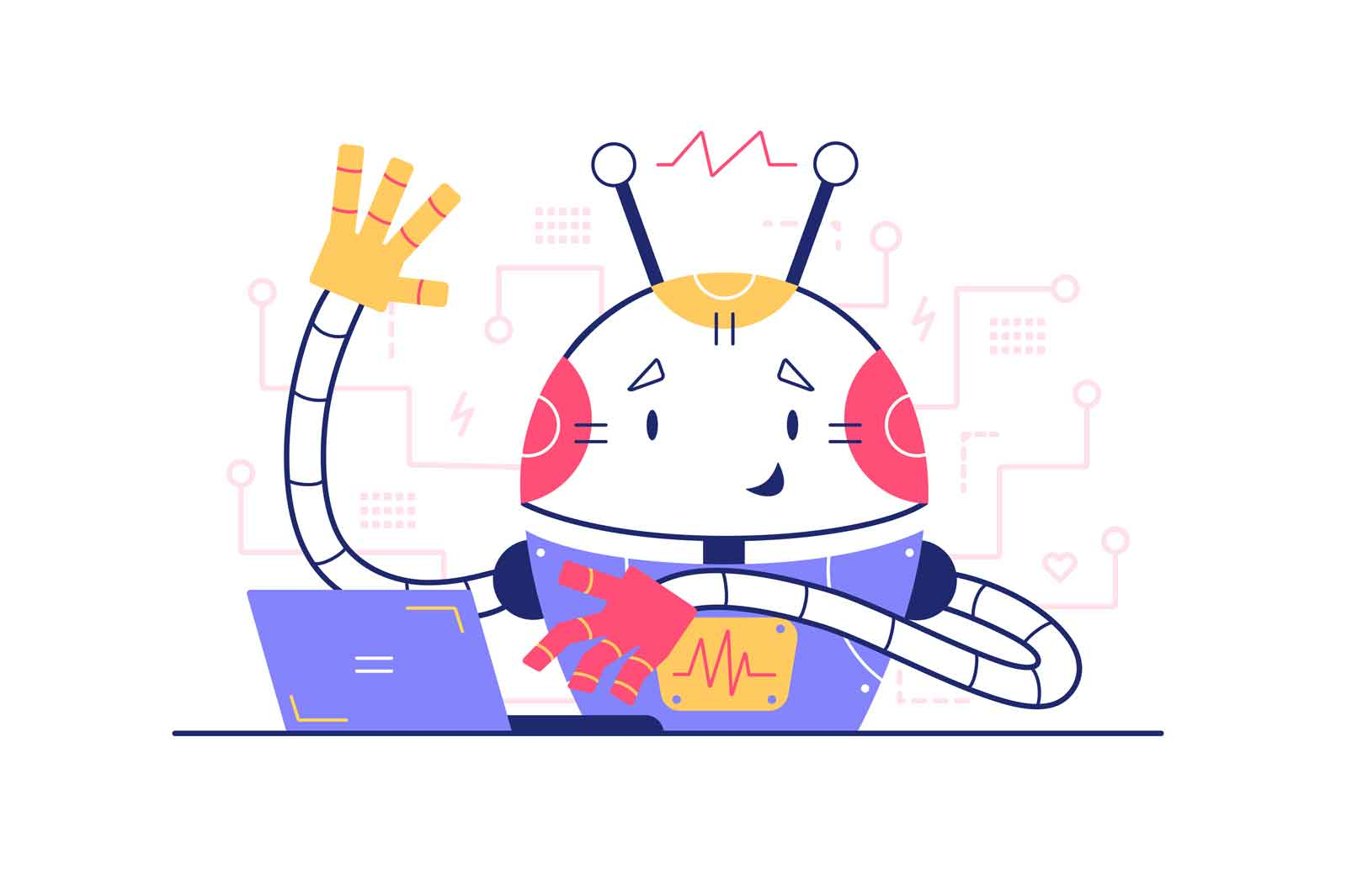 Robot using modern laptop vector illustration. Robot wave hello with hand flat style. Bright colourful character. Technology and development concept. Isolated on white background