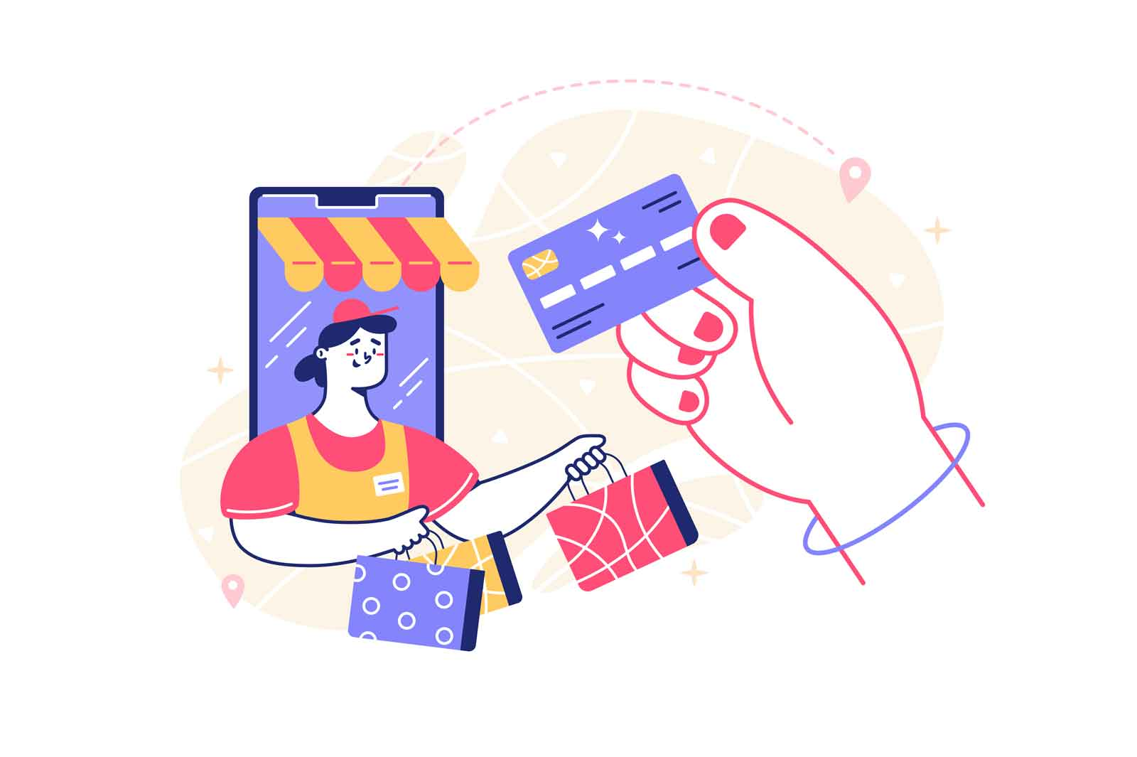 Shopping using mobile phone vector illustration. Person pay with credit card flat style. Online shopping via smartphone. Technology and innovation concept. Isolated on white background