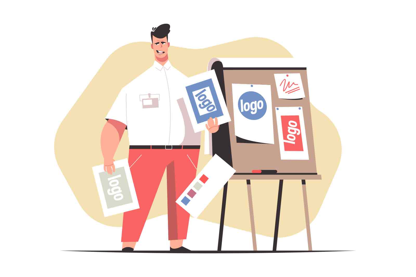 Man worker presenting design samples on meeting vector illustration. Board with different examples for promotion flat style. Marketing, business, presentation concept. Isolated on white background