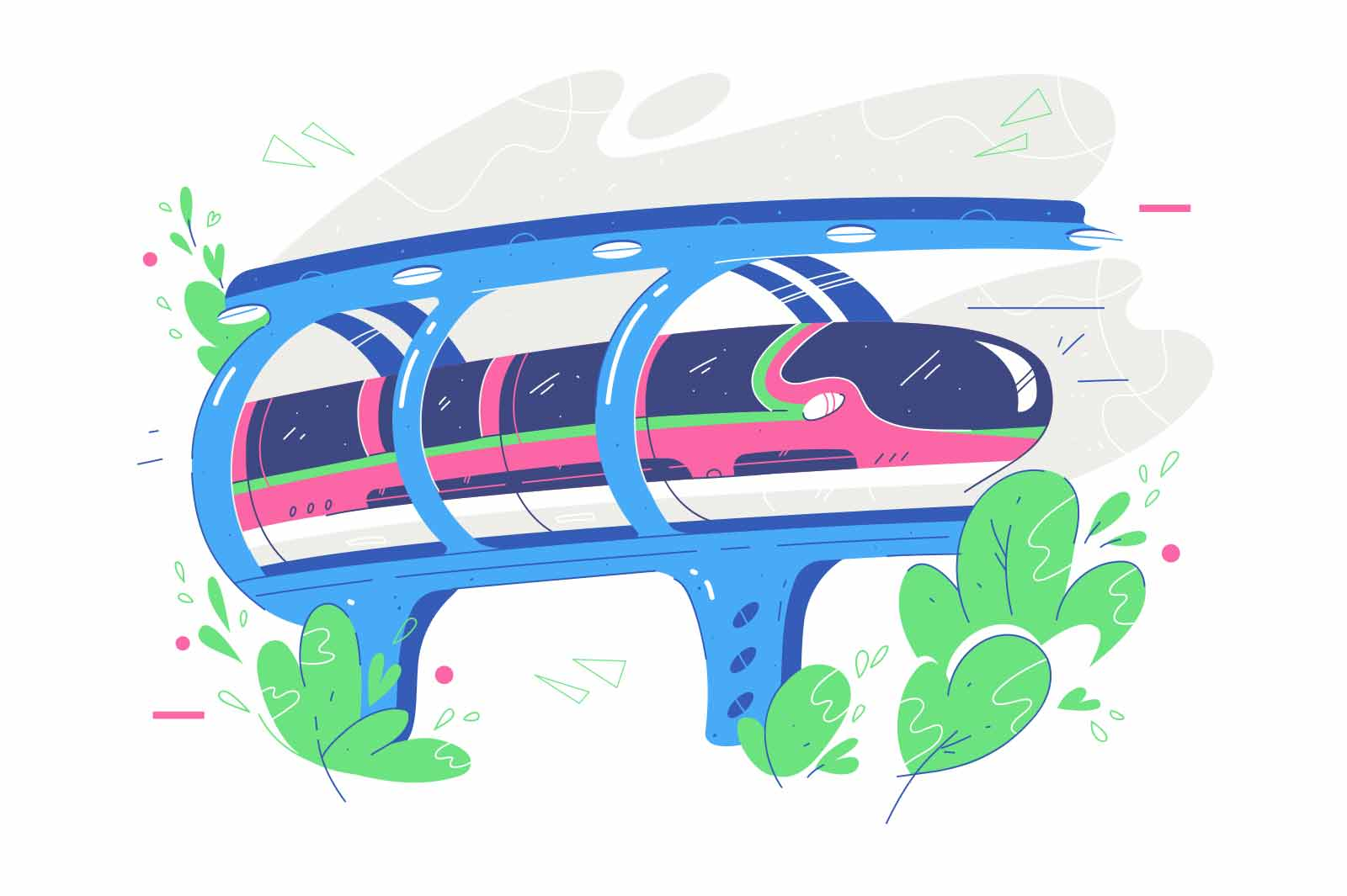 Fast public transport train vector illustration. Transfer for people, tunnel over cliff flat style. City transportation, public vehicle concept. Isolated on white background