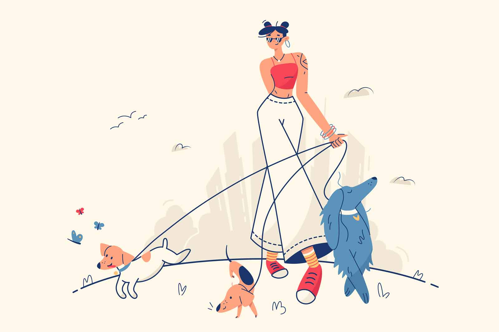 Stylish girl walking with dogs vector illustration. Woman walking in park on fresh air with domestic pets flat style. Leisure, weekend, fun spare time concept. Isolated on beige background