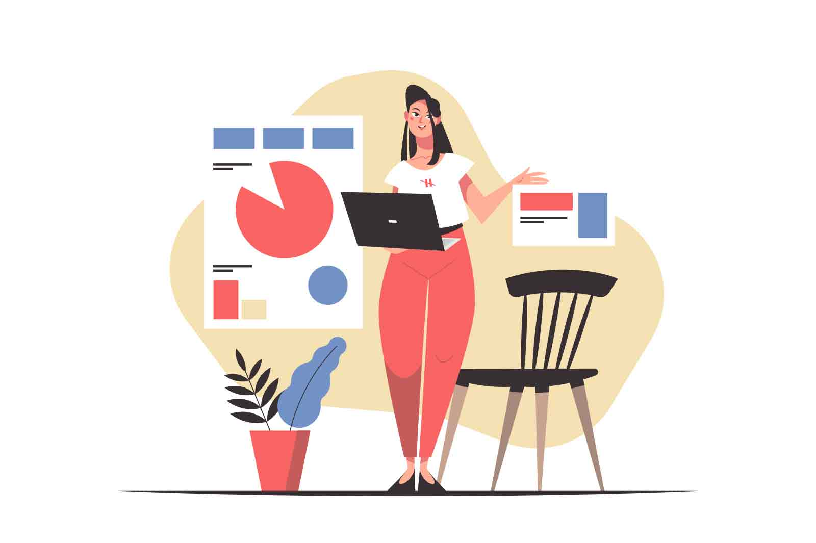 Woman runs business presentation on conference vector illustration. Posters with charts, laptop for training or entrepreneurs meeting flat style. Business and job concept. White background