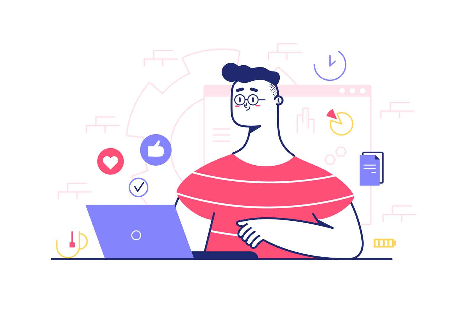 Man with laptop vector illustration. Guy surfing on internet and gets likes from social networks. Isolated on white background
