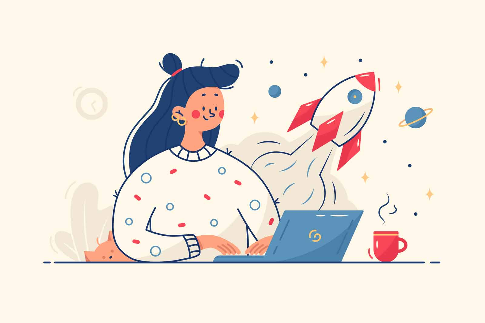 Woman working on startup vector illustration. Lady using laptop for work idea flat style. Rocket as symbol for startup. Creative job and inspirational process concept. Isolated on yellow background
