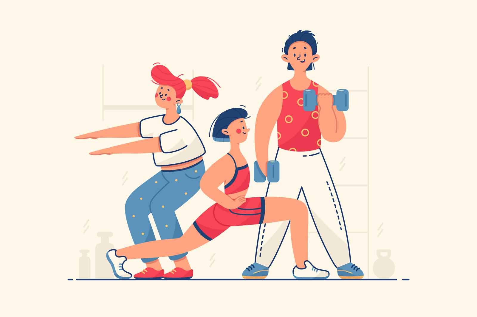People work on body vector illustration. Woman doing squats, man lifting dumbbells flat style. Friends workout together. Gym, sport, active lifestyle concept. Isolated on beige background