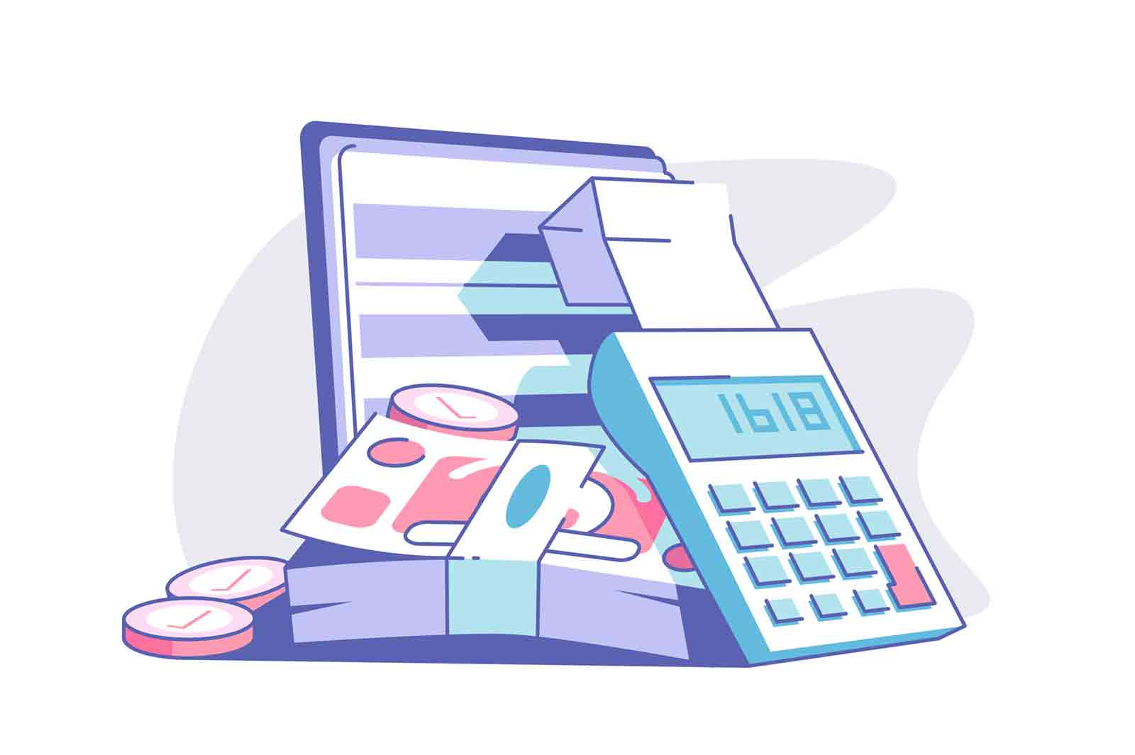 Calculator and banknotes vector illustration. Cash money and coins. Banking and financial analysis. Planning and strategy. Accounting and economy.