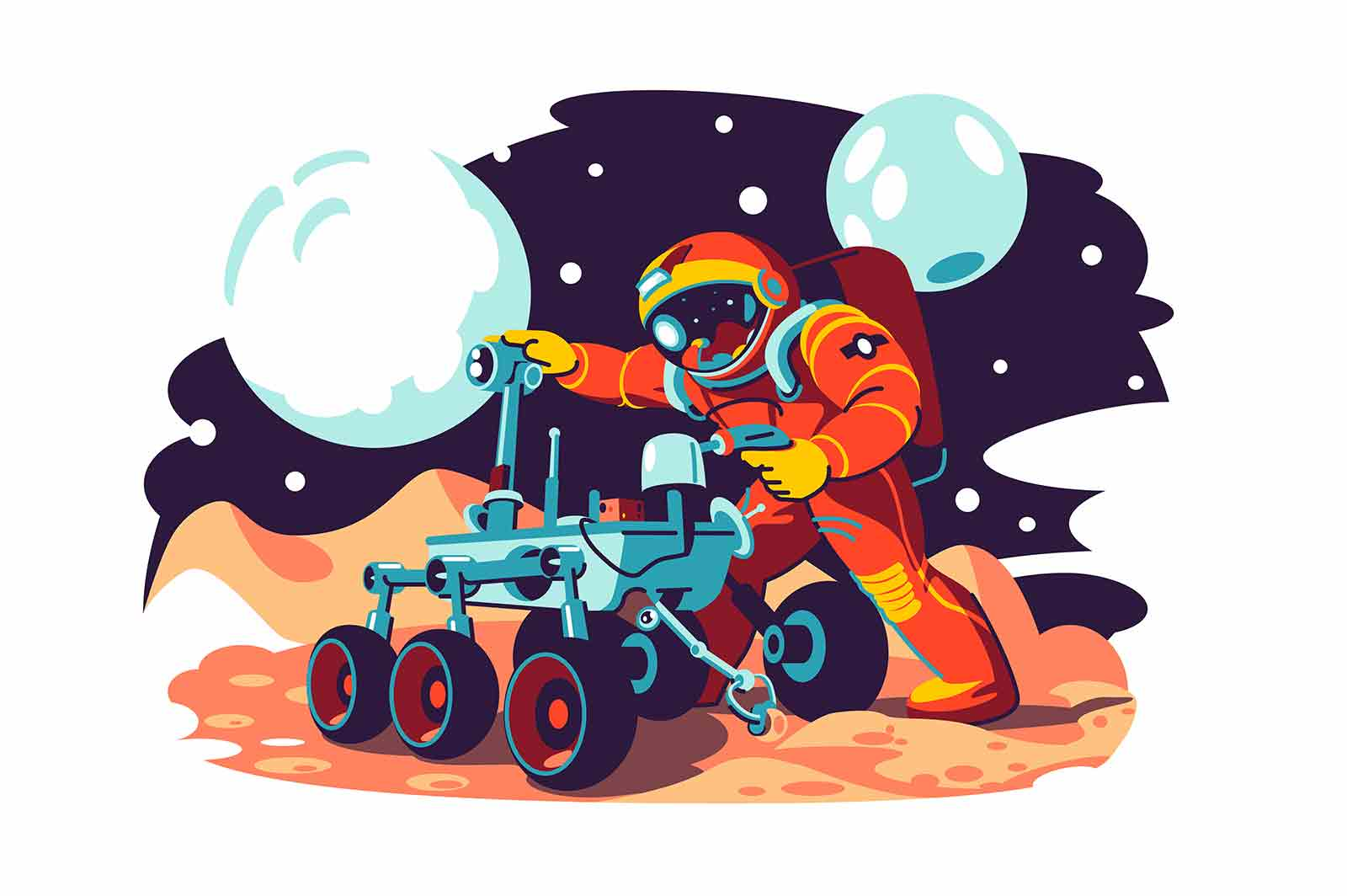 Astronaut in costume fix machine vector illustration. Astronaut character explore space flat style. Planets, galaxy, mars, future, earth and stars concept. Isolated on white background
