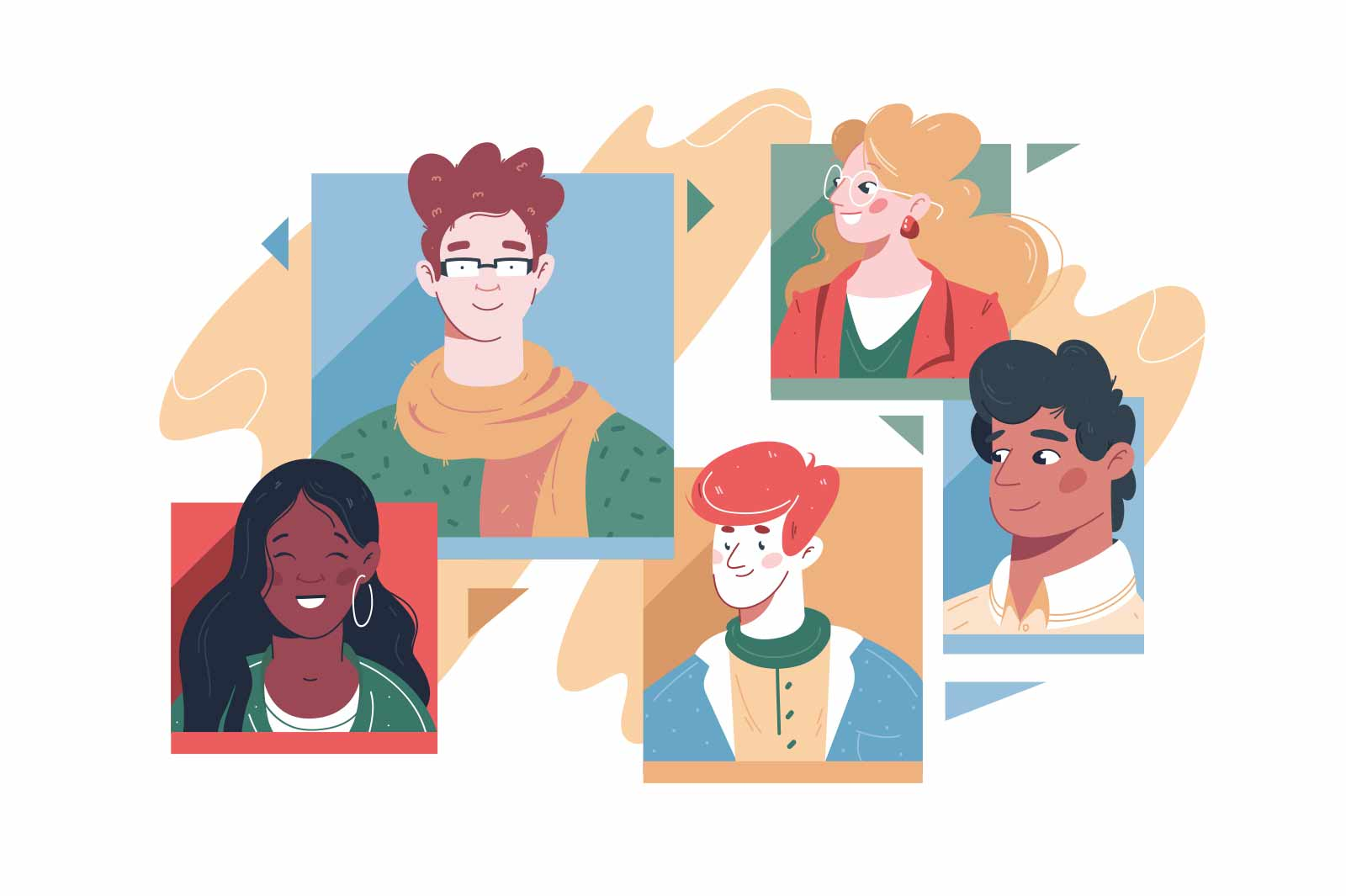 Set of different people avatars vector illustration. Diversity of men and women flat style. Internet forum, account, user picture concept