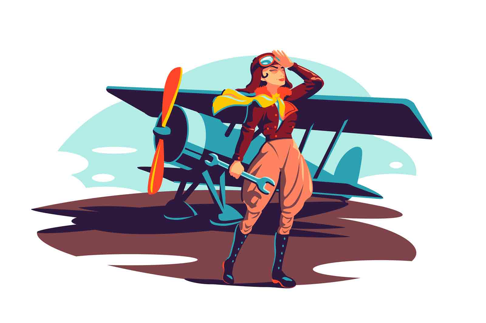 Female aviator holding wrench instrument vector illustration. Woman pilot in costume flat style. Repair airplane with tool. Pilot occupation, aircraft concept. Isolated on white background