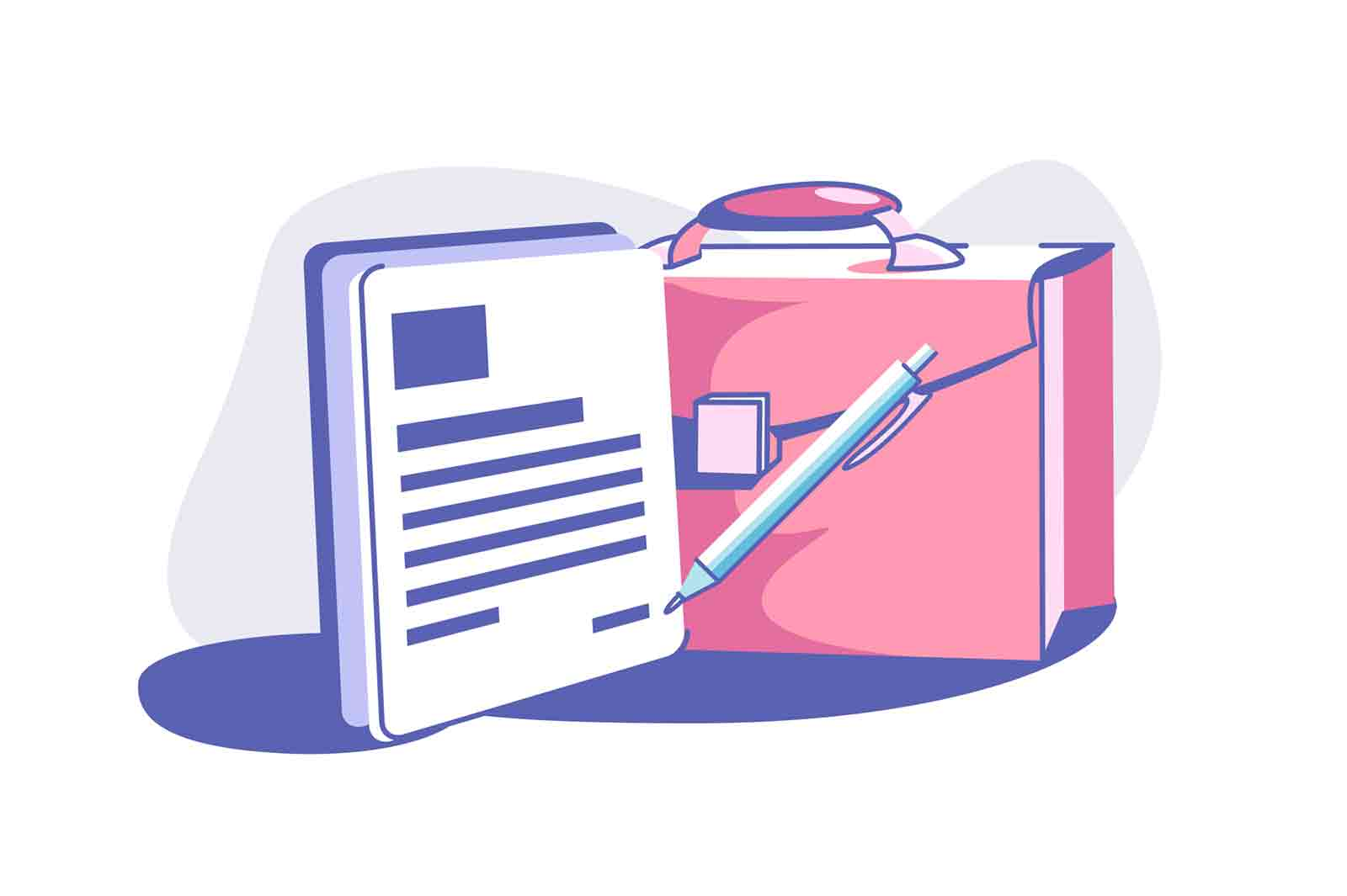 Business document and briefcase vector illustration. Paper with monthly report flat style. Bag to carry work stuff. Career and job concept.