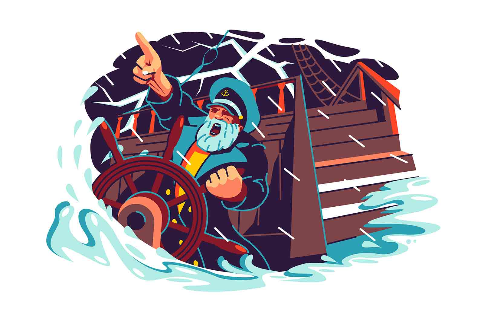 Captain character standing at helm of boat vector illustration. Storm, rain and big waves flat style. Shipwreck, ocean ride, sea captain concept. Isolated on white background