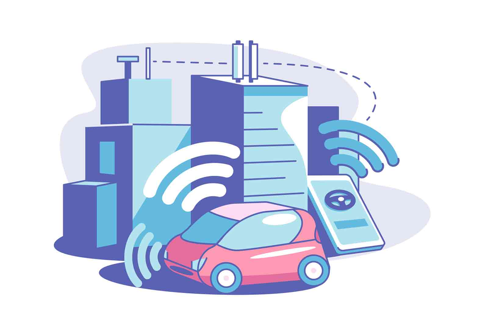 Smart connected city vector illustration. Wireless communication network. Controlling home appliances with device. Innovation technology concept.