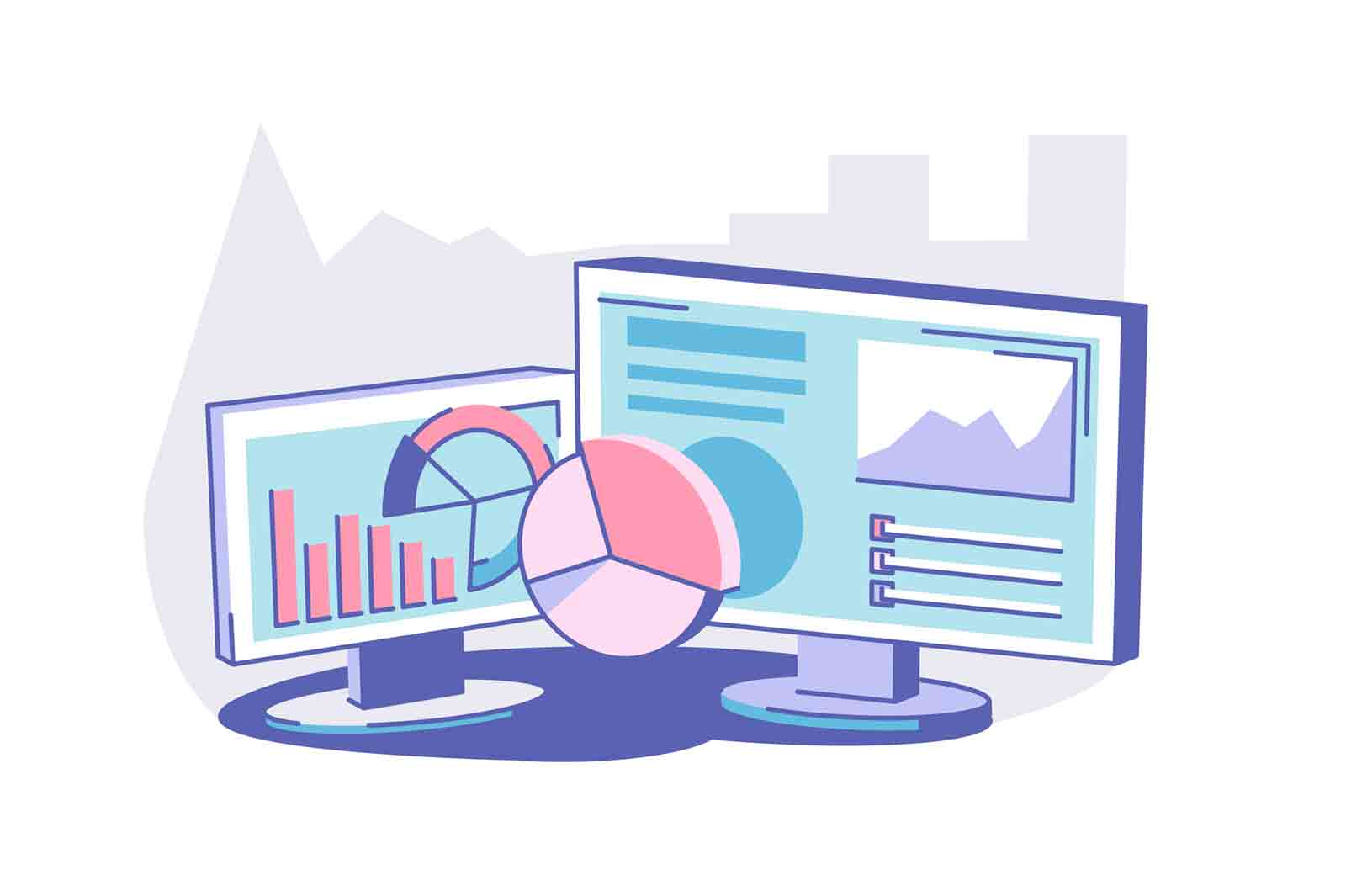 Modern computer on table vector illustration. Pc screen with business graphs and data. Working process. Dashboard and technology concept.