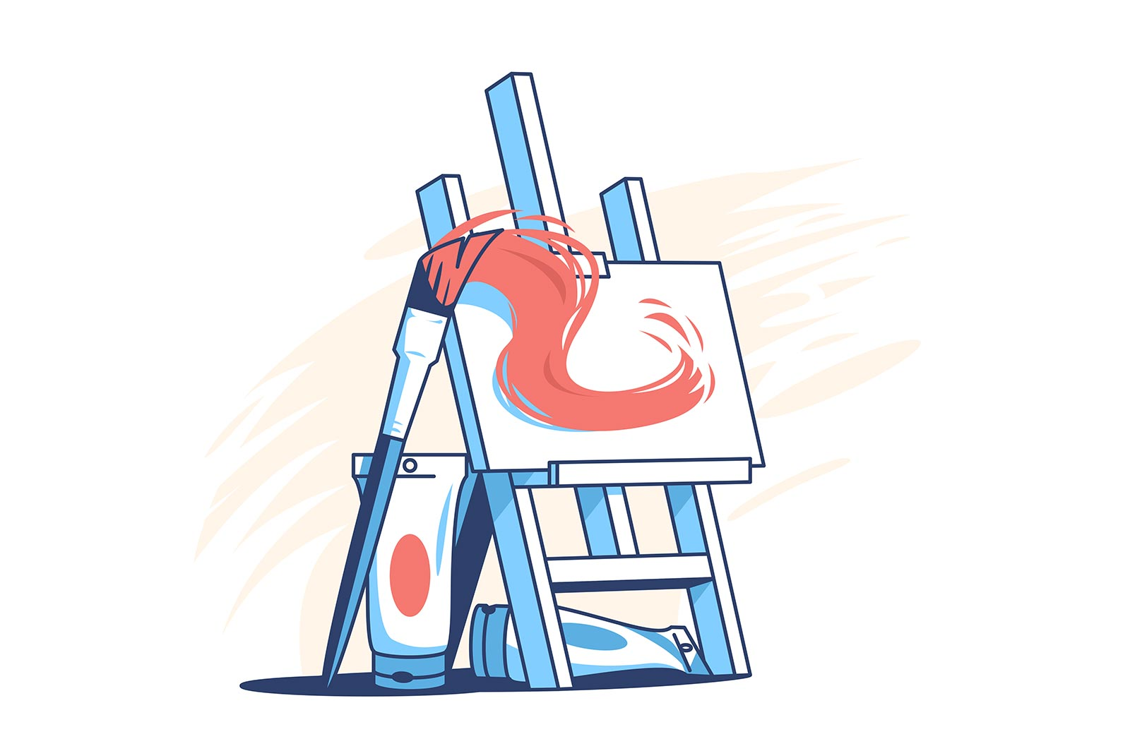 Easel for painting vector illustration. Tubes with paintings flat style. Natural paintbrush with red oil paint. Art and creativity concept.
