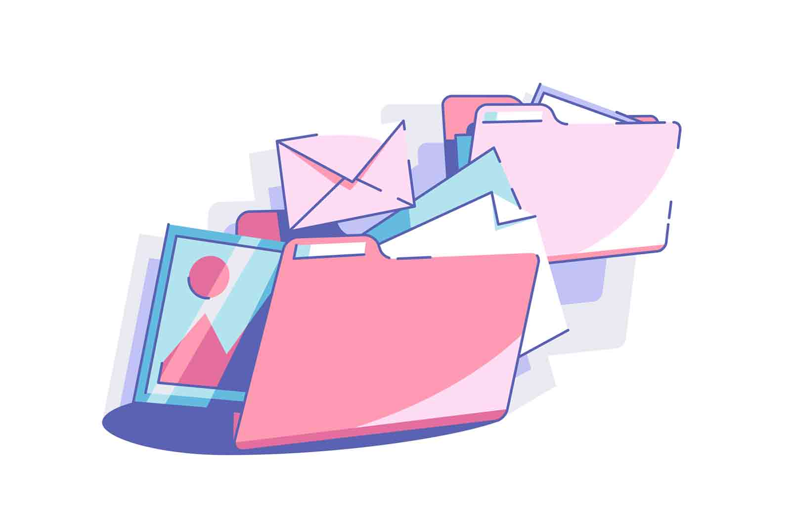 Sort out files to folders vector illustration. Colourful envelopes and folders in mess. Space organizing and management concept.