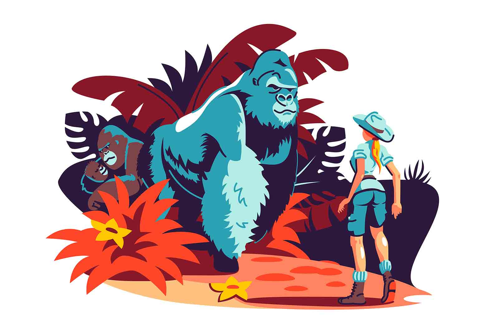 Woman has encounter with gorilla family in jungle vector illustration. Traveller meeting gorilla in forest flat style concept. Travelling and wild animals idea