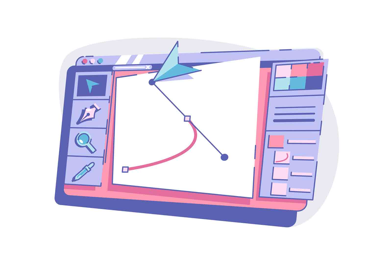 Modern device with graphic vector illustration. Interface with drawing flat style. Tool for painting. Creativity art and technology concept.