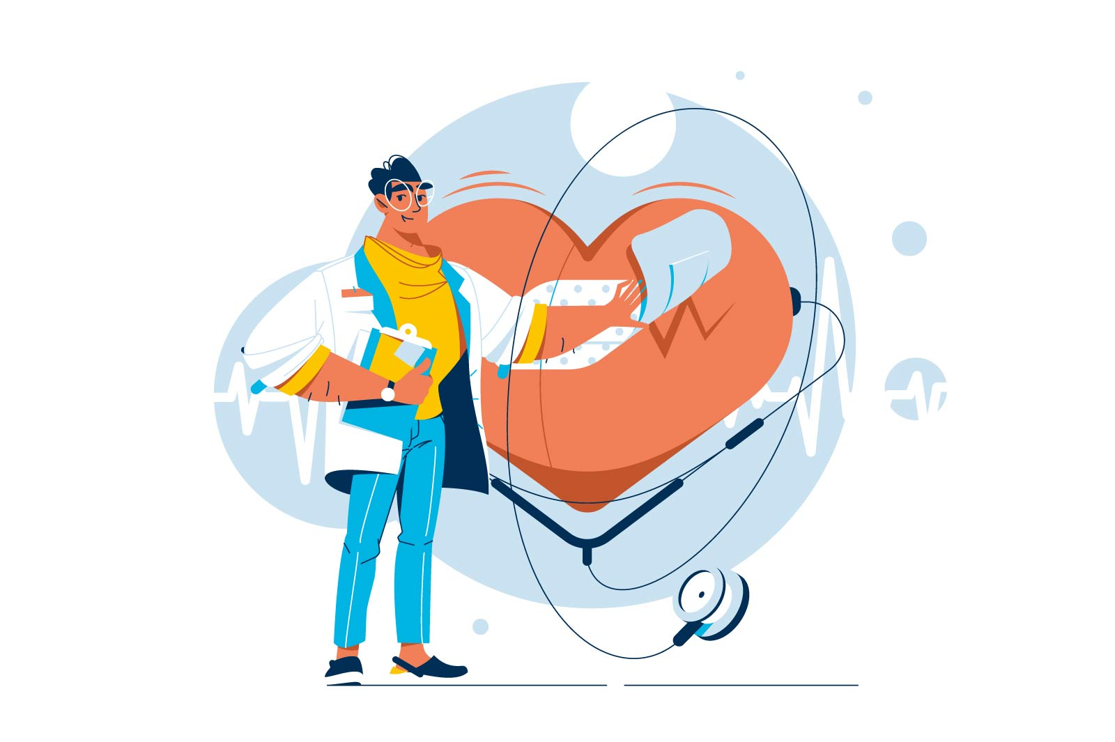 Cardiologist healing heart vector character illustration.