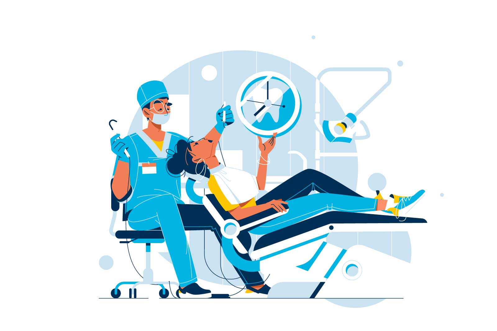 Woman sit in dentist chair vector illustration. Patient and doctor procedure flat style. Dentist, stomatology, medicine, healthcare concept