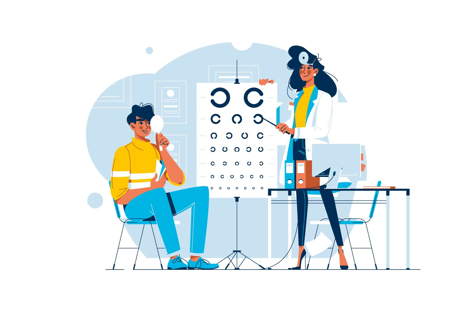 Ophthalmologist checking mans vision vector illustration. Male patient visiting doctor oculist flat style concept. Sight test. Medicine and healthcare idea