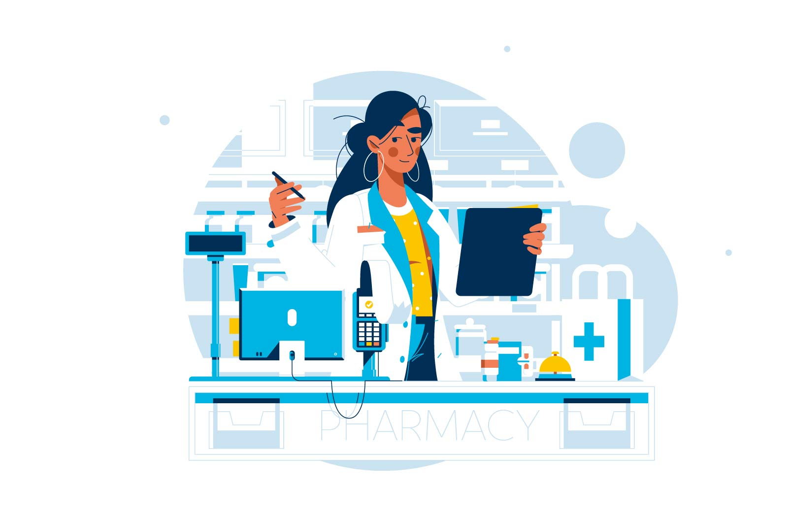 Doctor pharmacist in drugstore standing near medicine pills and bottles vector illustration. Medical staff choosing medicaments flat concept. Pharmacy store idea