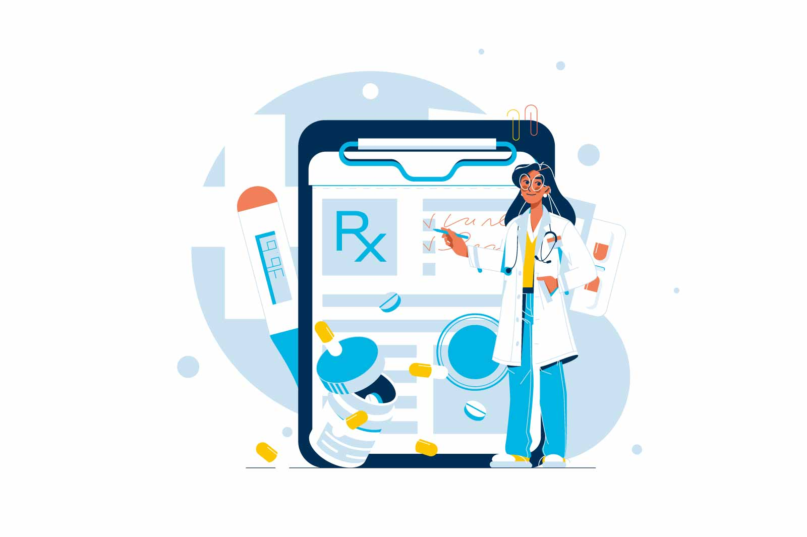 Doctor write prescription for patient vector illustration. Prescription for further care flat style. Treatment, healthcare, medicine concept