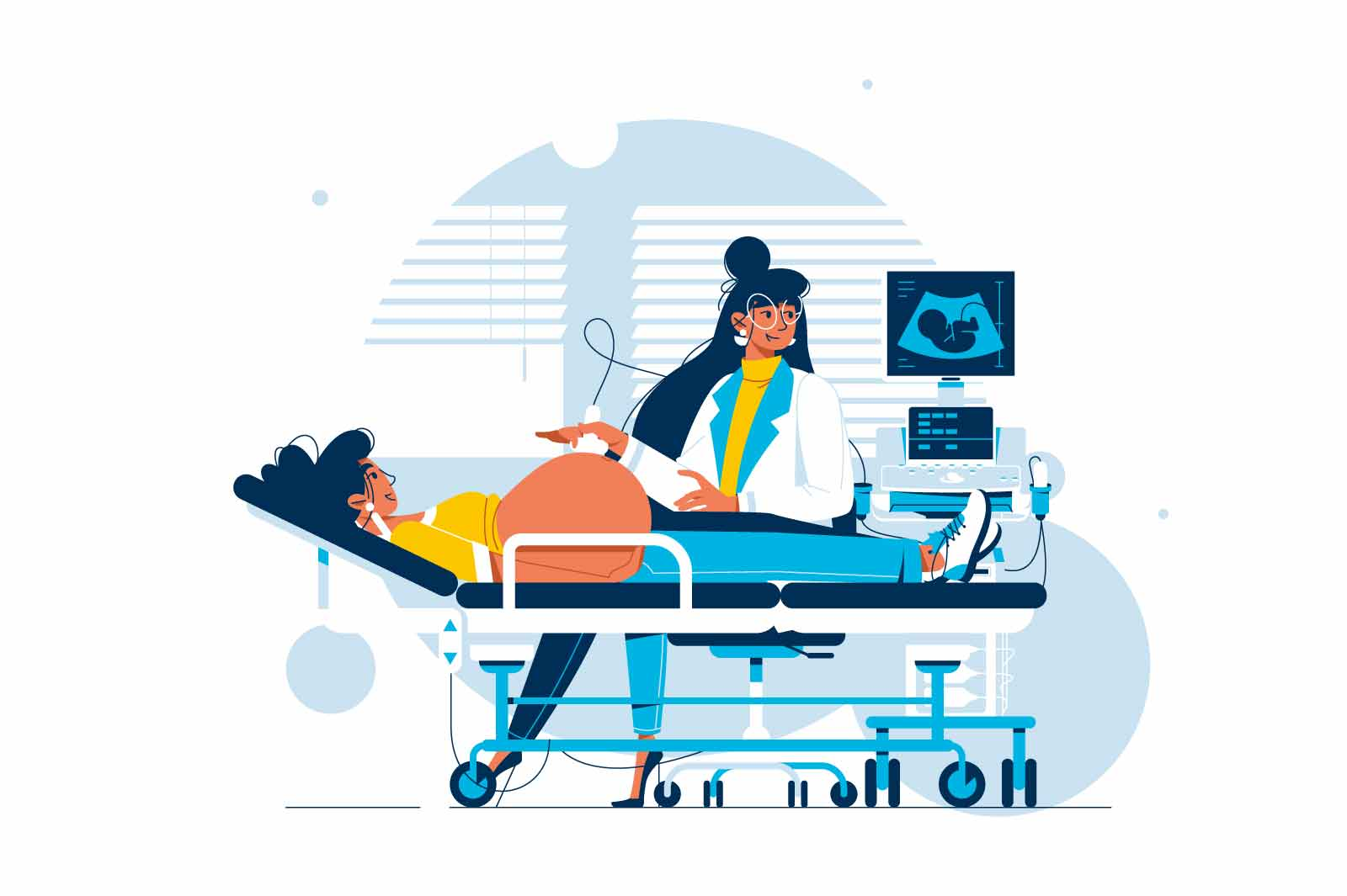 Ultrasound procedure of pregnant woman vector illustration. Doctor in uniform scanning future mother flat style. Pregnancy, medicine concept