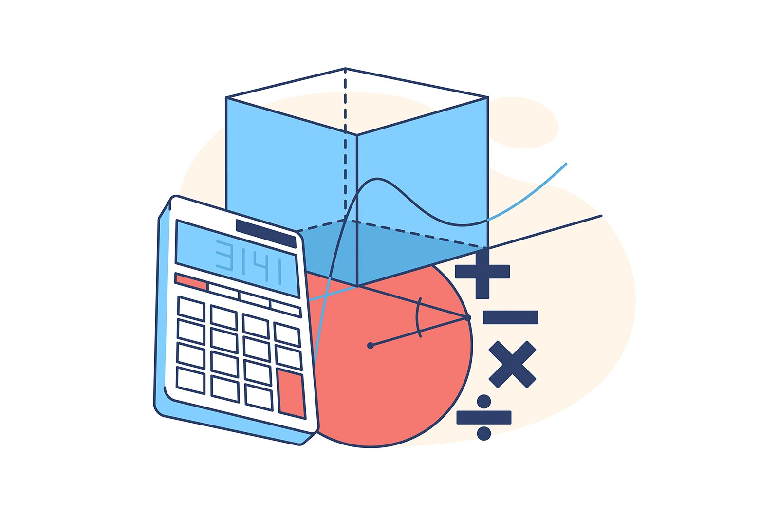 Calculator and geometrical figures vector illustration. Plus minus multiply split. Education and teaching. Math and science concept.
