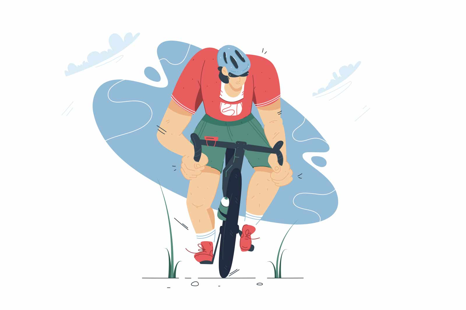 Mountain bike cycling in the forest vector illustration. Cyclist in helmet riding on road flat style design. Extreme sport concept