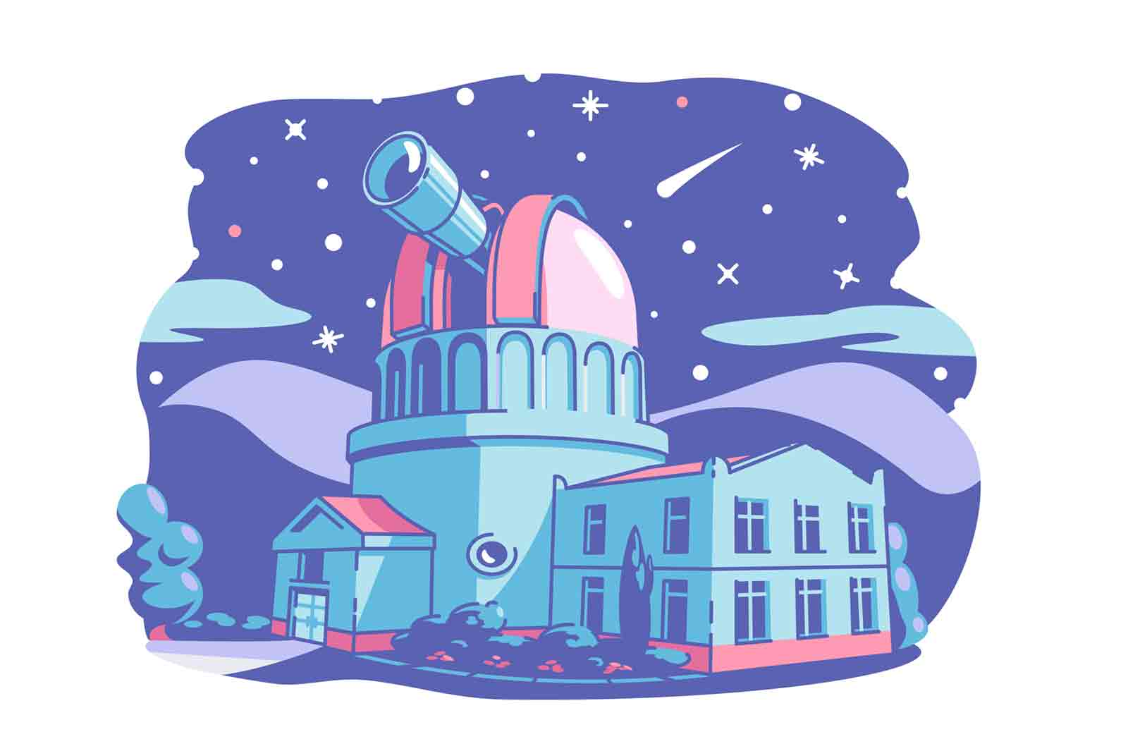 Observatory building with telescope vector illustration. Stars, planets, comet, asteroid on night sky flat style. Science and astronomy.